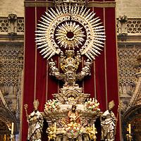 Europe, Spain, Seville. The Cathedral of Seville, Cathedral de Sevilla. Preparation for Semana Santa celebration.