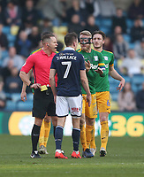 Preston North End's Tom Clarke has a disagreement with Millwall's Jed Wallace<br /> <br /> Photographer Rob Newell/CameraSport<br /> <br /> The EFL Sky Bet Championship - Millwall v Preston North End - Saturday 23rd February 2019 - The Den - London<br /> <br /> World Copyright © 2019 CameraSport. All rights reserved. 43 Linden Ave. Countesthorpe. Leicester. England. LE8 5PG - Tel: +44 (0) 116 277 4147 - admin@camerasport.com - www.camerasport.com