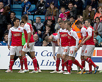 Fleetwood Town's Gareth Evans (2nd from right) celebrates scoring the only goal of the match<br /> <br /> Photographer Stephen White/CameraSport<br /> <br /> Football - The Football League Sky Bet League One - Gillingham v Fleetwood Town -  Friday 3rd April 2015 - MEMS Priestfield Stadium - Gillingham<br /> <br /> © CameraSport - 43 Linden Ave. Countesthorpe. Leicester. England. LE8 5PG - Tel: +44 (0) 116 277 4147 - admin@camerasport.com - www.camerasport.com