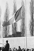 Irish flag and attendees of the GAA Annual Congress at the Garden of Remembrance, Parnell Square, Dublin during a luncheon interval of congress...Annual Congress, GAA. 6.4.1969. 6th April 1969