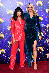 Claudia Winkleman (left) and Tess Daley arriving at the red carpet launch of Strictly Come Dancing 2019, held at BBC TV Centre in London, UK.