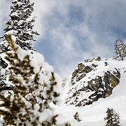 Drew Petersen skiing inbounds powder at Jackson Hole Mountain Resort.