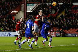 Matt Smith of Bristol City heads a shot - Photo mandatory by-line: Rogan Thomson/JMP - 07966 386802 - 29/01/2015 - SPORT - FOOTBALL - Bristol, England - Ashton Gate Stadium - Bristol City v Gillingham - Johnstone's Paint Trophy Southern Area Final Second Leg.