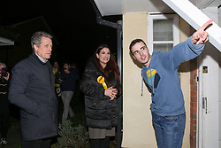 © Licensed to London News Pictures. 01/12/2019. London, UK. Actor and film producer, HUGH GRANT (L), joins Liberal Democrats' parliamentary candidate for Finchley & Golders Green, LUCIANA BERGER (C) during canvassing in Finchley, North London, to bid to stop a Conservative majority and Stop Brexit. Photo credit: Dinendra Haria/LNP