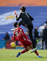 Football - 2020 / 2021 Premier League - Leicester City vs Liverpool - King Power Stadium<br /> <br /> Liverpool's Alisson Becker collides with Ozan Kabak.<br /> <br /> COLORSPORT/ASHLEY WESTERN
