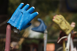 Rubber gloves on vacuum cleaners, Heidelberg Project, Detroit, Michigan.  The Heidelberg Project is a grass roots project started by artist Tyree Guyton that uses art to help revitalize the embattled neighborhood.  Each year, over 275,000 people visit the project .  For more information, go to www.heidelberg.org