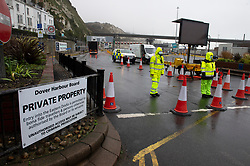 © Licensed to London News Pictures  21/12/2020. Dover, UK. The Port of Dover is closed, Security at the Port entrance. A major police operation is underway in Kent as Operation Stack is implemented on the M20 due to the Port of Dover and Channel Tunnel having to close in response to France closing its borders to the UK. All freight and passenger traffic have been banned for 48 hours due to the new mutant strain of the Coronavirus in England. traffic. Photo credit:Grant Falvey/LNP