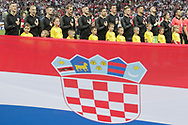 Team of Croatia during anthems before the 2018 FIFA World Cup Russia, semi-final football match between Croatia and England on July 11, 2018 at Luzhniki Stadium in Moscow, Russia - Photo Thiago Bernardes / FramePhoto / ProSportsImages / DPPI