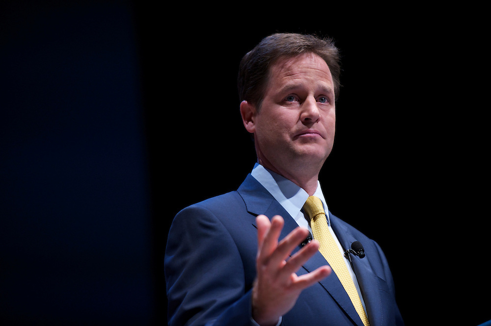 Deputy Prime Minister Nick Clegg delivers a speech to delegates attending the Liberal Democrat Autumn Conference in Liverpool on 19 September 2010.  This was the first party conference since the government coalition with the tories.