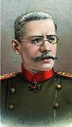 Nikolai Vladimirovich Rusky (1854-1918) General in the Russian Imperial Army during the First World War. Captured and executed by the Bolsheviks in September 1918. Chromolithograph.