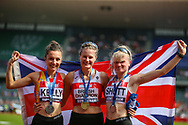 Silver medalist Erika KELLY, gold medalist Bethan DAVIES and bronze medalist Madeline SHOTT after the Women's 5000m Walk during the Muller British Athletics Championships at Alexander Stadium, Birmingham, United Kingdom on 25 August 2019.