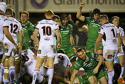 December 24, 2017 - Galway, Ireland - Connacht players celebrate after Eoghan Masterson try during the Guinness PRO14 Round 11 match between Connacht Rugby and Ulster Rugby at the Sportsground in Galway, Ireland on December 23, 2017  (Credit Image: © Andrew Surma/NurPhoto via ZUMA Press)