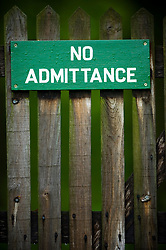 No admittance sign on a gate, Bradgate Country Park, Leicestershire, England, United Kingdom.