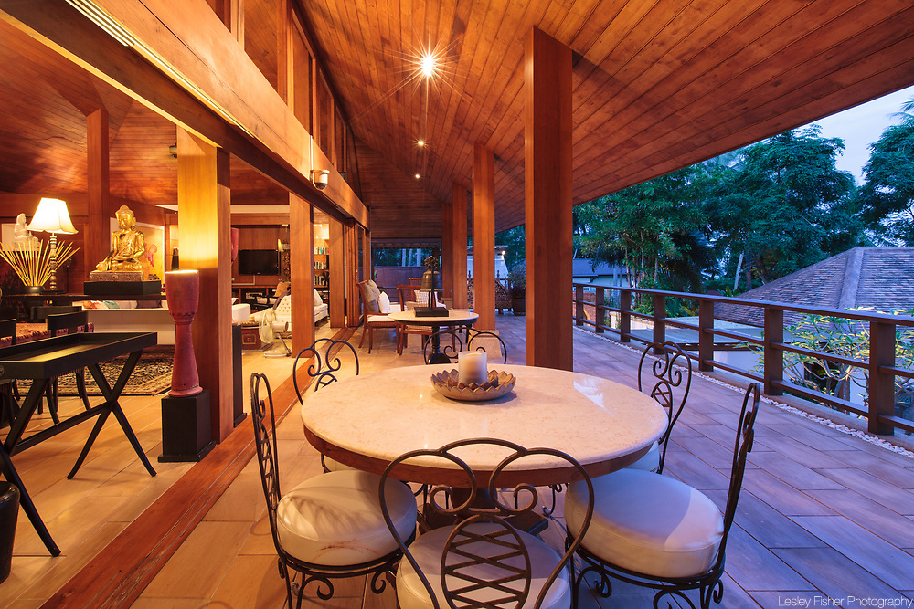 Terrace at Baan Wanora, a luxury, private, beach front villa located in Laem Sor, Koh Samui, Thailand
