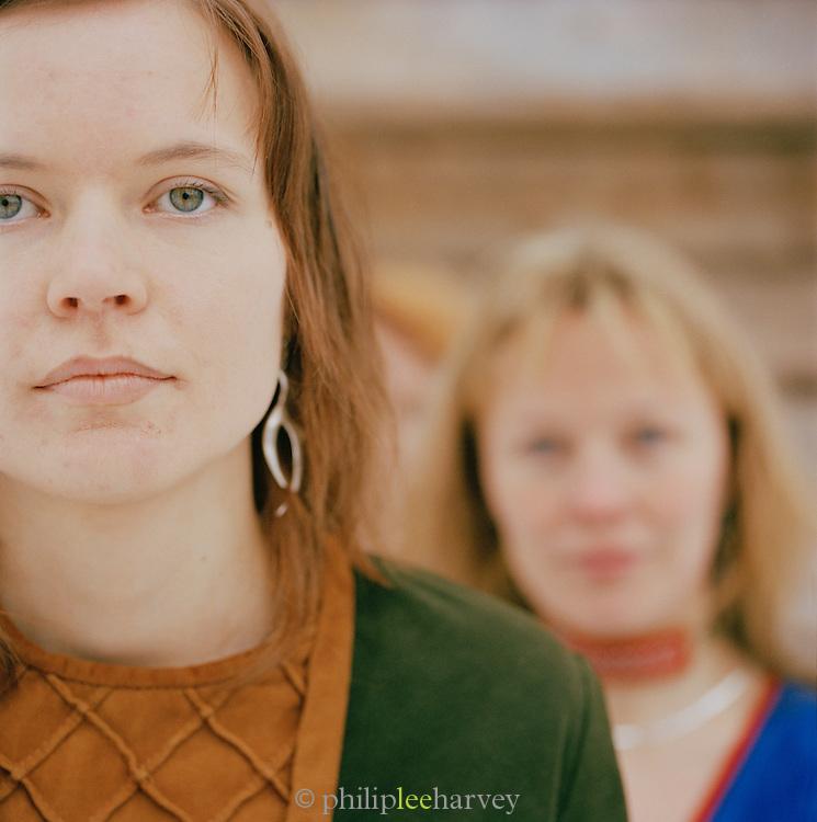 Two Sami girls in Lapland, Sweden