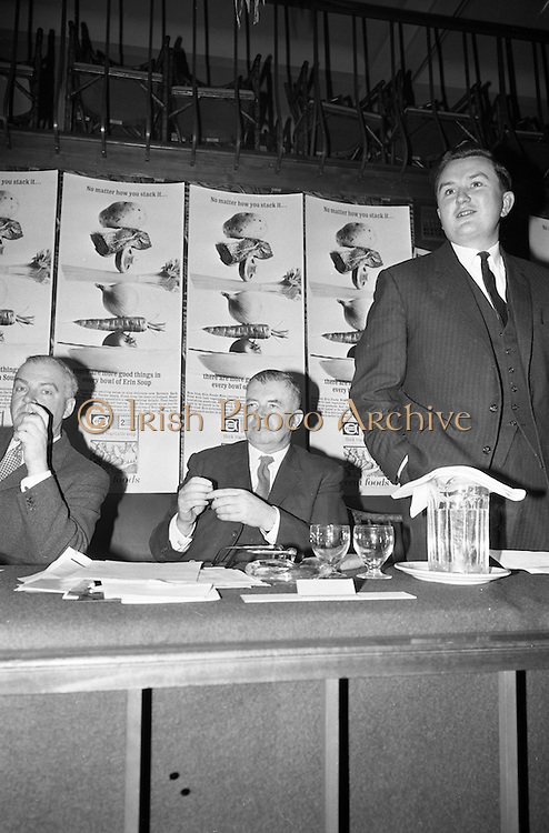 08/02/1963<br /> 02/08/1963<br /> 08 February 1963<br /> Erin Soups introduced to the Irish Market, at the Gresham Hotel Dublin. The Erin Foods Division of Comhlucht Siucre Eireann Teo (Irish Sugar Co. Ltd.) announced the launching of their new Erin Soups at the press conference. Picture shows (l-r): Mr. J.L. Ginnell, Head of the Erin Foods Division; Lieut. General Michael Joseph Costello, General Manager of Irish Sugar Co. and Mr. S. Mac Giolla Riogh, addressing the crowd.