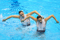 "May 10, 2019 - Saint Petersburg, Russia - The Spain team compete in the Duet Free Preliminary during of the European Artistic ""Synchronised"" Swimming Champions Cup 2019 on May 10, 2019, in St.Petersburg, Russia  (Credit Image: © Igor Russak/NurPhoto via ZUMA Press)"