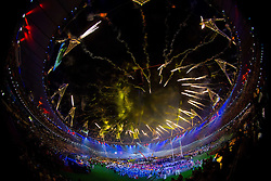 Fireworks during the closing ceremony of the London 2012 Paralympic Games on September 9, 2012, in Olympics stadium, Stratford, London, Great Britain. (Photo by Vid Ponikvar / Sportida.com)