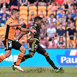 BRISBANE, AUSTRALIA - APRIL 16: Roy Krishna of the Phoenix scores a goal during the round 27 Hyundai A-League match between the Brisbane Roar and Wellington Phoenix at Suncorp Stadium on April 16, 2017 in Brisbane, Australia. (Photo by Patrick Kearney/Brisbane Roar)