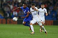 Loic Damour of Cardiff city (l) holds off Mateusz Klich of Leeds Utd (r). EFL Skybet championship match, Cardiff city v Leeds Utd at the Cardiff city stadium in Cardiff, South Wales on Tuesday 26th September 2017.<br /> pic by Andrew Orchard, Andrew Orchard sports photography.