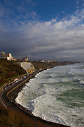 Atlantic waves lash the resort town of Biarritz, in the Basque region of France, March 2013
