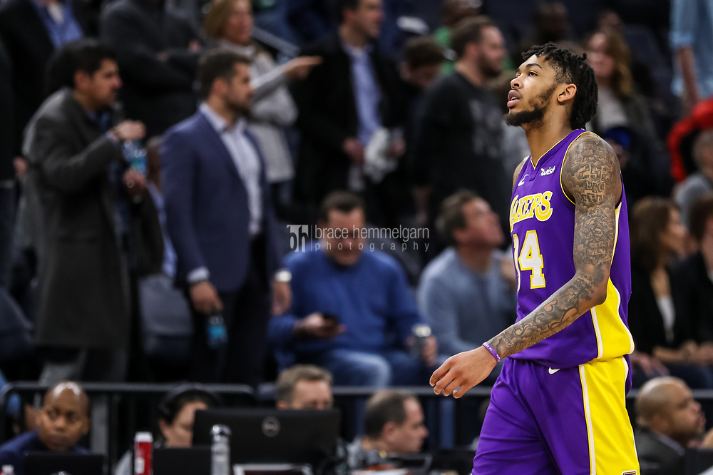 Feb 15, 2018; Minneapolis, MN, USA; Los Angeles Lakers forward Brandon Ingram (14) looks on during the fourth quarter against the Minnesota Timberwolves at Target Center. Mandatory Credit: Brace Hemmelgarn-USA TODAY Sports