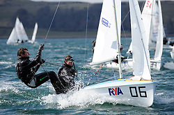 Day 1 of the RYA Youth National Championships 2013 held at Largs Sailing Club, Scotland from the 31st March - 5th April. ..420, 54482, Callum AIRLIE, Joe BUTTERWORTH, ELYC..For Further Information Contact..Matt Carter.Racing Communications Officer.Royal Yachting Association.M: 07769 505203.E: matt.carter@rya.org.uk ..Image Credit Marc Turner / RYA..