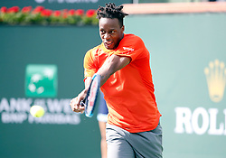 March 9, 2019 - Indian Wells, CA, U.S. - INDIAN WELLS, CA - MARCH 09: Gael Monflis (FRA) hits a backhand during the second round of the BNP Paribas Open on March 09, 2019, at the Indian Wells Tennis Gardens in Indian Wells, CA. (Photo by Adam Davis/Icon Sportswire) (Credit Image: © Adam Davis/Icon SMI via ZUMA Press)