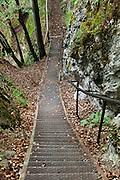 A steep stairway leads to viewpoints over Lake Bled (Slovene: Blejsko jezero) in the Julian Alps in northwestern Slovenia, Europe.