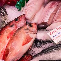 Nederland, Amsterdam, 18 maart 2016.<br /> Vis op de Albert Cuyp markt.<br /> Foto bij verhaal Visafslag Den Helder.<br /> <br /> The Netherlands, Amsterdam, 18 march 2016<br /> Fish on the Albert Cuyp market in Amsterdam. <br /> Picture to accompany feature Visafslag Den Helder (Fish processing for auction in Den Helder)<br /> <br /> <br /> Foto: Jean-Pierre Jans
