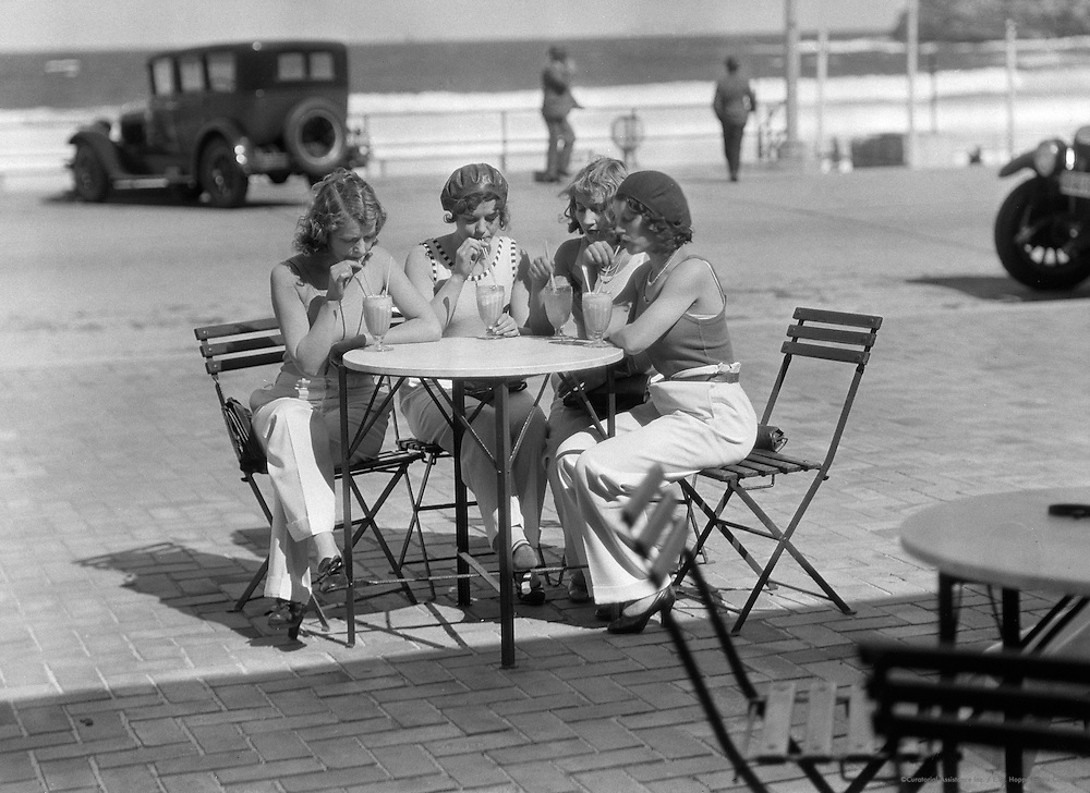 Sitting at a Café, Bondi Beach, Sydney, Australia, 1930