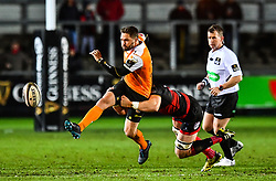Cheetahs' Tian Meyer is tackled by Dragons' Harrison Keddie<br /> <br /> Photographer Craig Thomas/Replay Images<br /> <br /> Guinness PRO14 Round 18 - Dragons v Cheetahs - Friday 23rd March 2018 - Rodney Parade - Newport<br /> <br /> World Copyright © Replay Images . All rights reserved. info@replayimages.co.uk - http://replayimages.co.uk