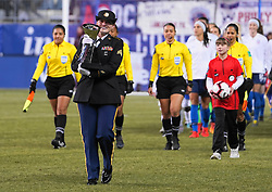 February 28, 2019 - Chester, United States - The teams enter with the trophy presented to the fans .during the She Believes Cup football match between The United States and Japan at Talen Energy Stadium on February 27, 2019 in Chester, Pennsylvania, United States. (Credit Image: © Action Foto Sport/NurPhoto via ZUMA Press)
