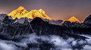Chomolungma sunset, SW face Everest  & Nuptse-Lhotse & Makalu ( R) from Gokyo Ri, , Khumbu Himal, Nepal
