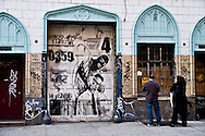 New York. frescoes and graffitis and paintings in lower east side under renovation  New York  Usa /  fresques et graffitis dans Lower east side en renovation  New York  USa /