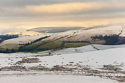 © Licensed to London News Pictures. 28/12/2020. Builth Wells, Powys, Wales, UK.  A wintry landscape on the Mynydd Epynt moorland near Builth Wells in Powys, Wales, UK. Photo credit: Graham M. Lawrence/LNP