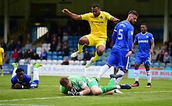 Jermaine Easter of Bristol Rovers jumps over Stuart Nelson of Gillingham - Mandatory by-line: Alex James/JMP - 14/04/2017 - FOOTBALL - MEMS Priestfield Stadium - Gillingham, England - Gillingham v Bristol Rovers - Sky Bet League One