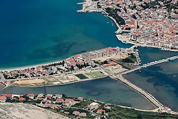 21.06.2015, Pag, CRO, Insel Pag, Die kroatische Insel Pag befindet sich an der Adria-Küste nördlich von Zadar in Norddalmatien. Pag hat eine Länge von 58,25 km und ist mit 284,18 Quadratkilometern der Fläche nach die fünftgrößte Insel der Adria, im Bild Pag is the largest town on the island of Pag. // The Croatian island of Pag is located on the Adriatic coast north of Zadar in northern Dalmatia. Pag has a length of 58.25 km and is 284.18 square kilometers of the area after the fifth largest island in the Adriatic, pitured on 13. June in Pag, Croatia on 2015/06/21. EXPA Pictures © 2015, PhotoCredit: EXPA/ Pixsell/ Dino Stanin<br /> <br /> *****ATTENTION - for AUT, SLO, SUI, SWE, ITA, FRA only*****