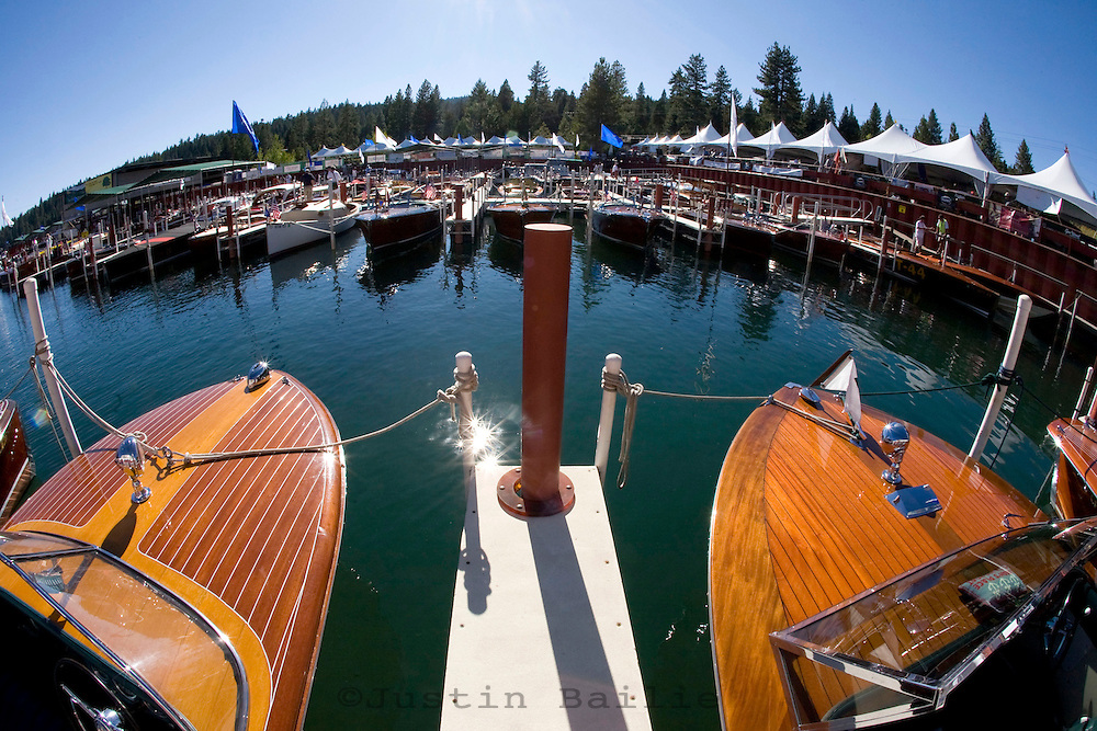 Vintage wooden boats on Lake Tahoe, CA.