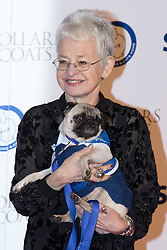 """Battersea, London, November 3rd 2016.  Celebrities and their dogs attend The Evolution at Battersea Park to attend The Battersea Dogs and Cats Home """"Collars and Coats Ball"""". PICTURED: Dame Jacqueline Wilson"""