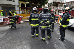 October 13, 2017 - Buenos Aires, Buenos Aires, Argentina - A gas leak in an important avenue of the neighborhood of Chacarita forced to block traffic several blocks to the round. Firefighters and equipment of the Metrogas gas company were able to close the leak several hours later. There were no casualties. (Credit Image: © Claudio Santisteban via ZUMA Wire)