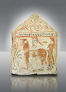 Lucanian fresco tomb painting of the deceased on a mythical horse being offered food for the journey to the next world . Paestrum, Andriuolo. Tomb 84.  (350-340 ) .<br /> <br /> If you prefer to buy from our ALAMY PHOTO LIBRARY  Collection visit : https://www.alamy.com/portfolio/paul-williams-funkystock - Scroll down and type - Paestum Fresco - into LOWER search box. {TIP - Refine search by adding a background colour as well}.<br /> <br /> Visit our ANCIENT GREEKS PHOTO COLLECTIONS for more photos to download or buy as wall art prints https://funkystock.photoshelter.com/gallery-collection/Ancient-Greeks-Art-Artefacts-Antiquities-Historic-Sites/C00004CnMmq_Xllw
