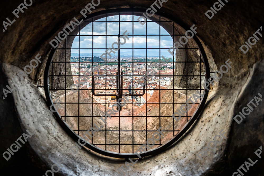 View of the city of Florence from one of the drainage canals of the Duomo in Florence, Tuscany region - Italy