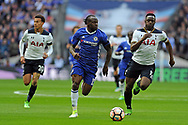 Chelsea's Victor Moses (c) takes on Tottenham's Victor Wanyama (r). The Emirates FA Cup semi-final match, Chelsea v Tottenham Hotspur at Wembley Stadium in London on Saturday 22nd April 2017.<br /> pic by Carl Robertson,  Andrew Orchard sports photography.