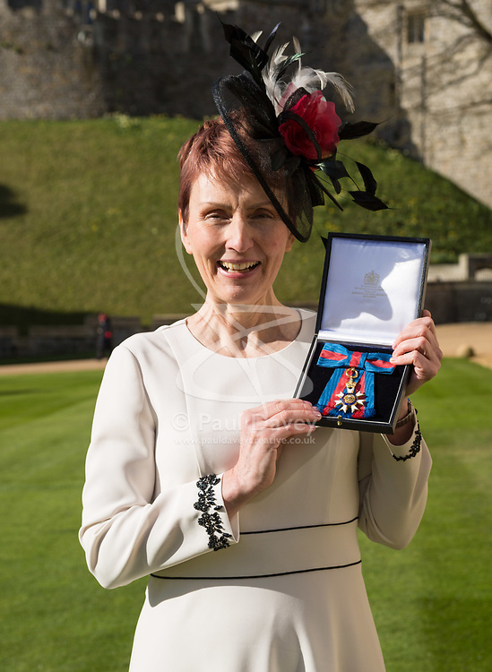 Miss Helen Sharman CMG, OBE of Kew, who became the first British astronaut and the first woman to visit the Mir space station in 1991, displays her Most Distinguished Order of St Michael and Saint George for services to Science and technology educational outreach at an investiture ceremony at Windsor Castle, Berkshire. Windsor Castle, Windsor, February 16 2018.