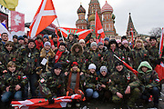"""Moscow, Russia, 06/12/2007..Members of the """"Our Army"""" project among approximately 30,000 members of the pro Kremlin youth organisation Nashi [Ours], demonstrating outside the Kremlin in support of President Vladimir Putin, and celebrating the victory of his United Russia party in the recent parliamentary elections."""