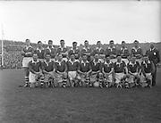 "Cork team before the All Ireland Senior Gaelic Football Championship Final Louth v Cork at Croke Park on the 22nd September 1957. Louth 1-09 Cork 1-07.<br /> <br /> Back row (from left) MIck Goold, Paddy Driscoll, Tim O'Callaghan, Denis Bernard, Joe O'Sullivan, ""Eric"" Ryan, Sean Moore, Donal O'Sullivan, Colm O'Shea, Paddy Harrington, Eamonn Young. <br /> <br /> Front row (from left) Finbarr McAuliffe, Niall Fitzgerald, John Joe Hinchion, Tom Furlong, Denis Kelleher, Neily Duggan, Dan Murray, Liam Power, Mick McCarthy, Eamonn Goulding."