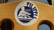 Bled, Slovenia, YUGOSLAVIA.   Equipment, Boat Grafics, Filippil Round label/sticker, Boat builders, ITALY,1989 World Rowing Championships, Lake Bled. [Mandatory Credit. Peter Spurrier/Intersport Images]