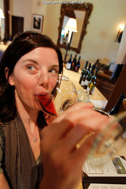 Allison tastes wine at Bridlewood Winery in Santa Ynez, Santa Barbara County on Monday, May 10th, 2011.