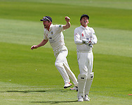 Michael Richardson  (Durham County Cricket Club) wicket keeper celebrates after taking a catch. Paul Collingwood (Durham County Cricket Club) captain cheers on in the background during the LV County Championship Div 1 match between Durham County Cricket Club and Warwickshire County Cricket Club at the Emirates Durham ICG Ground, Chester-le-Street, United Kingdom on 15 July 2015. Photo by George Ledger.